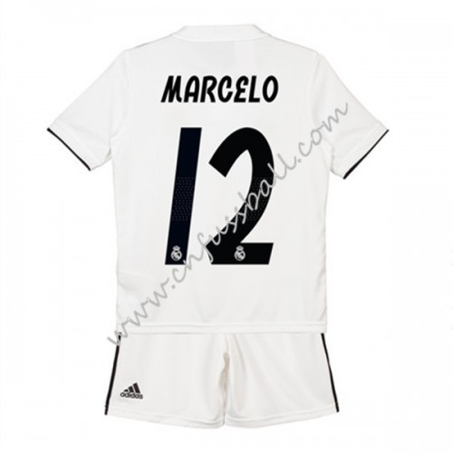 Real Madrid Kids 2018-19 Marcelo Junior 12 Short Sleeve Home Soccer Jersey