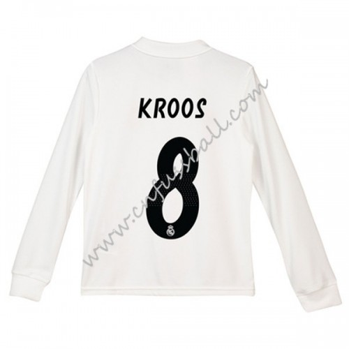 Real Madrid Kids 2018-19 Toni Kroos 8 Long Sleeve Home Soccer Jersey