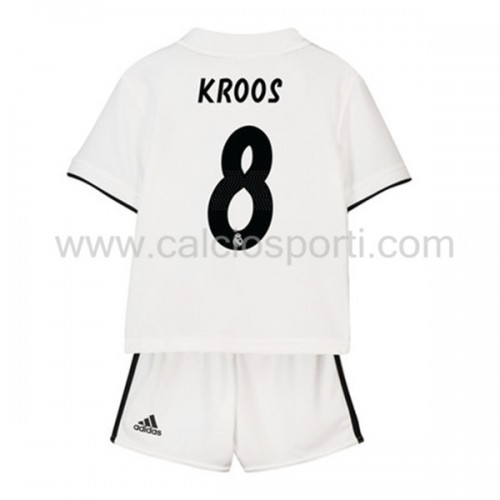 Real Madrid Kids 2018-19 Toni Kroos 8 Short Sleeve Home Soccer Jersey