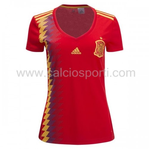 Spain Womens 2018 World Cup Short Sleeve Home Soccer Jersey