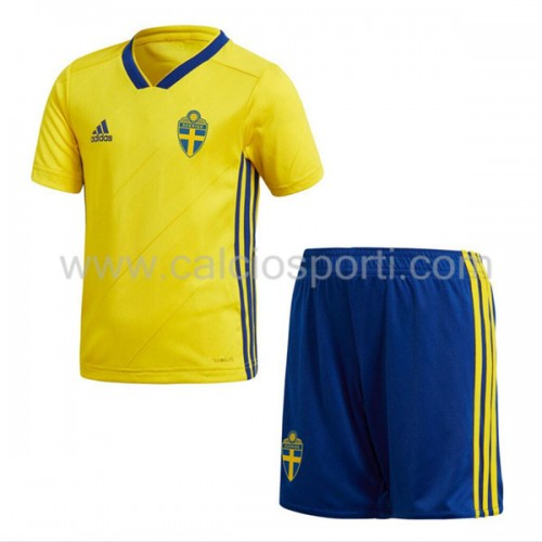Sweden Kids 2018 World Cup Short Sleeve Home Soccer Jersey