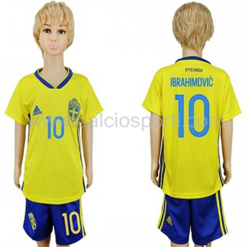 Sweden Kids 2018 World Cup Zlatan Ibrahimovic 10 Short Sleeve Home Soccer Jersey
